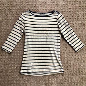Zara Cotton Top in Navy/Cream - Size S